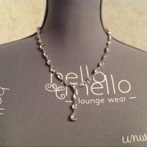 Charter Club Silver Tone Clear Stone Necklace